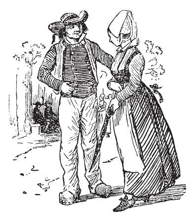 Campesinos de Bretaña, cosecha ilustración grabada. Journal des Voyages, Diario de viaje, (1879-1880). Ilustración de vector