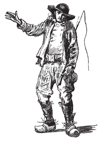 french countryside: Farmer of Finistère, vintage engraved illustration. Journal des Voyages, Travel Journal, (1879-80). Illustration