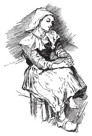 köylü: Breton köylü, bağbozumu oyulmuş illüstrasyon. Journal des Voyages, Seyahat Dergisi, (1879-1880). Çizim