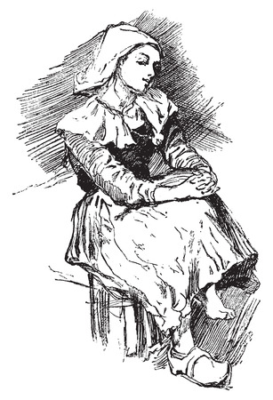 peasant: Breton peasant, vintage engraved illustration. Journal des Voyages, Travel Journal, (1879-80).