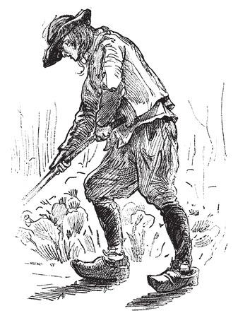 peasant: Peasant Breton, vintage engraved illustration. Journal des Voyages, Travel Journal, (1879-80).