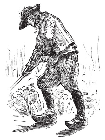 Peasant Breton, vintage engraved illustration. Journal des Voyages, Travel Journal, (1879-80).