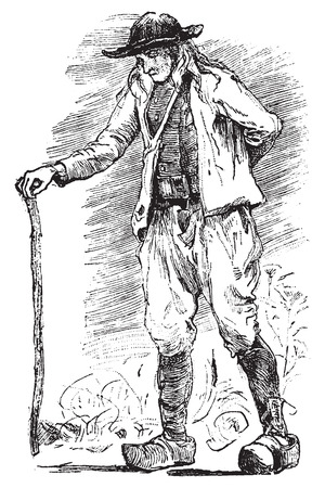 destitute: Breton Beggar, vintage engraved illustration. Journal des Voyages, Travel Journal, (1879-80).