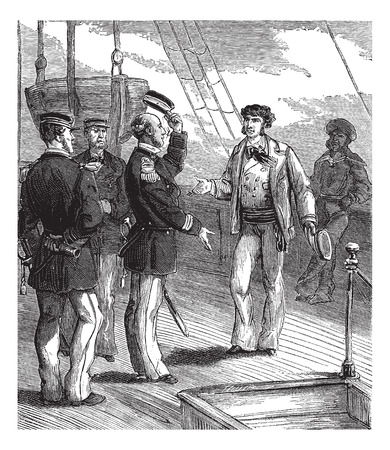 stopped: Bandits of the sea. He stopped with a respectful attitude, vintage engraved illustration. Journal des Voyages, Travel Journal, (1879-80).