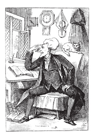 ponder: Doctor Syntax Reflecting on his Book Readings, by Thomas Rowlandson, vintage engraved illustration. Le Magasin Pittoresque - Larive and Fleury - 1874 Illustration