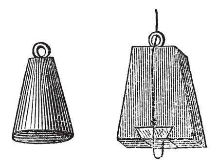 floater: Various Types of Floaters, used in Fly Fishing, vintage engraved illustration. Le Magasin Pittoresque - Larive and Fleury - 1874