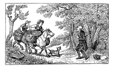 dr: Old engraved illustration of Dr. Syntax tied with a rope and two horseback village women approach with a barking dog to rescue him,1874. Created  by Thomas Rowlandson. Le Magasin Pittoresque - 1874.