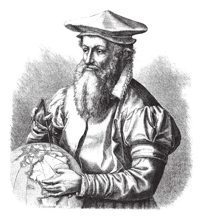 cartographer: Gerard Mercator, vintage engraved illustration. Magasin Pittoresque 1875. Illustration