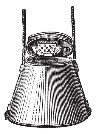 worm gear: Fig. 64. Fishing gear, Worm and maggot box, vintage engraved illustration. Magasin Pittoresque 1874.