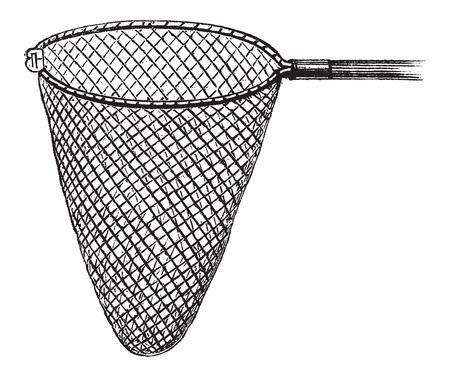 fishermans net: Shrimping Net, vintage engraved illustration. Le Magasin Pittoresque - Larive and Fleury - 1874