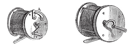 aquaculture: Fishing Reels, vintage engraved illustration. Le Magasin Pittoresque - Larive and Fleury - 1874