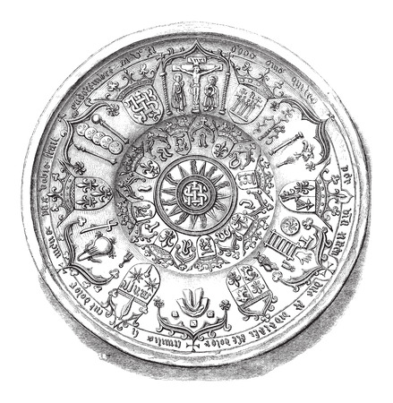 earthenware: Earthenware Dish with Christian design, during the 15th century, displayed at the National Library in Paris, France, vintage engraved illustration. Le Magasin Pittoresque - Larive and Fleury - 1874