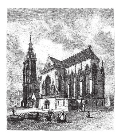 Saint Martins Church in Colmar, France, vintage engraved illustration. Le Magasin Pittoresque - Larive and Fleury - 1874