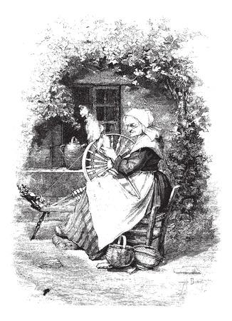 De Spinner, vintage gegraveerde illustratie. Magasin Pittoresque 1875.