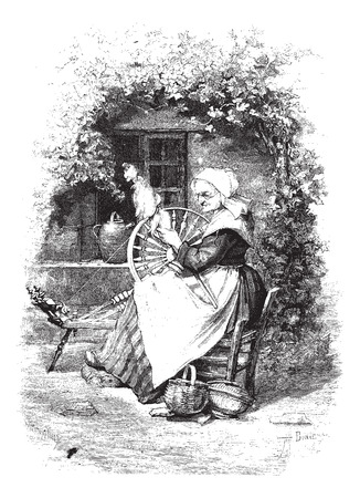 spinning: The Spinner, vintage engraved illustration. Magasin Pittoresque 1875.