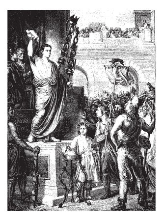 magasin pittoresque: Augustus presented to the members of the three provinces of Gaul Celtic, meeting in Lyon, vintage engraved illustration. Magasin Pittoresque 1875.