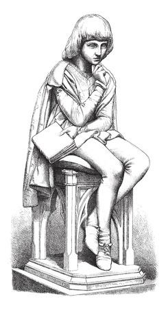 hombre sentado: Pico della Mirandola, escultura Villa, cosecha ilustración grabada. Magasin Pittoresque 1875. Vectores