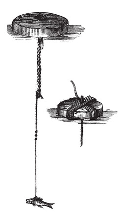 Simple Bricoles, in Fishing, vintage engraved illustration. Le Magasin Pittoresque - Larive and Fleury - 1874 Çizim