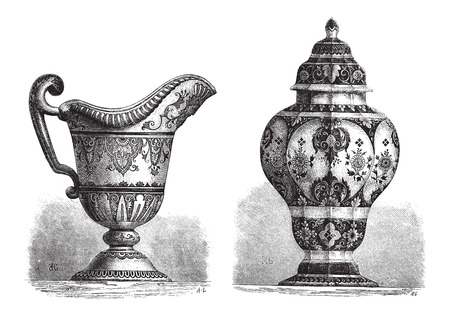 Divers Faïences, trouvés à Rouen, en France, illustration vintage gravé. Le Magasin Pittoresque - Larive et Fleury - 1874