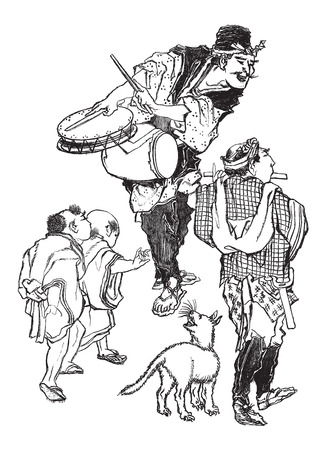 naturalist: The Acrobats - Japanese Caricature, at the La Rochelle Museum in La Rochelle, France, vintage engraved illustration. Le Magasin Pittoresque - Larive and Fleury - 1874 Illustration