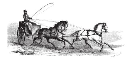 2 ruedas carrito tirado por 2 caballos en tándem, vintage, ilustración, grabado. Le Magasin Pittoresque - Larive y Fleury - 1874 Foto de archivo - 35097008