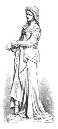 Ophelia Marmorstatue von Falguiere. - Zeichnung Bocourt, Jahrgang gravierte Darstellung. Magasin Pittoresque 1874 Standard-Bild - 35097010