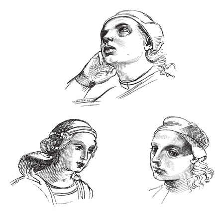 Pen drawings by Raphael, at the Academy of Fine Arts of Venice. - Drawing Chevignard, vintage engraved illustration. Magasin Pittoresque 1874.
