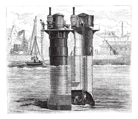 compressed air: Construction of the pillars of Tay Bridge using compressed air Scotland, vintage engraved illustration. Magasin Pittoresque 1874.