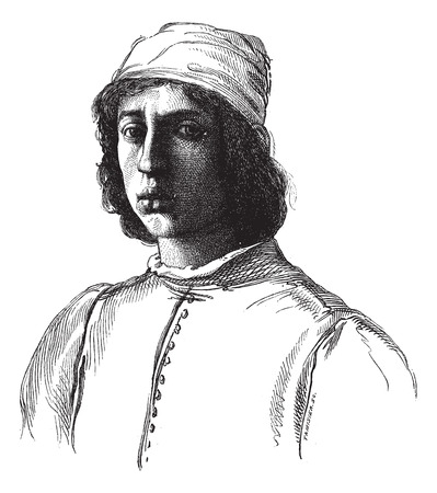 Uffizi Gallery in Florence. - Portrait painted by Filippino Lippi himself. - Drawing Chevignard, vintage engraved illustration. Magasin Pittoresque 1874. Illusztráció