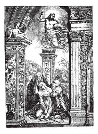 siena: Frescoes in the church of San Domenico in Siena, by Razzi (jumper Sodoma). Drawing by J. Lavee, vintage engraved illustration. Magasin Pittoresque 1874.