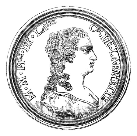magasin pittoresque: Cabinet of medals from the National Library. - Medal of the Comtesse de la Fayette, vintage engraved illustration. Magasin Pittoresque 1875. Illustration