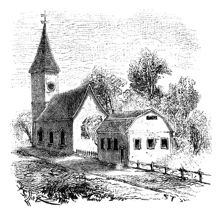 magasin pittoresque: The oldest school in Boston, vintage engraved illustration. Magasin Pittoresque 1875