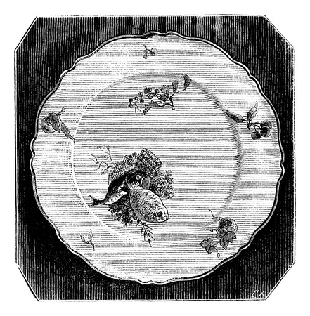 faience: Plate of Marseille, vintage engraved illustration. Magasin Pittoresque 1875. Illustration