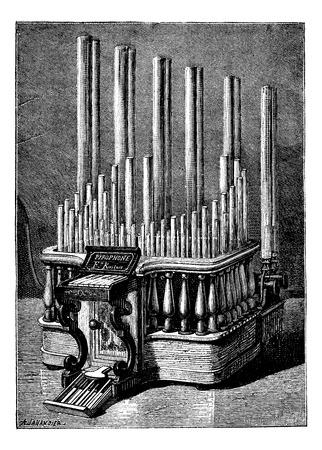 The Pyrophone, vintage engraved illustration. Magasin Pittoresque 1875. Ilustração