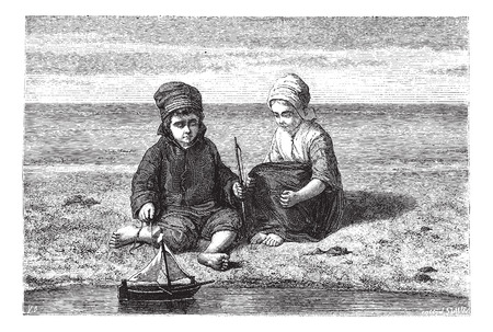woman floating: Kids looking at small boat on water surface, vintage engraved illustration. Magasin Pittoresque 1867. Illustration