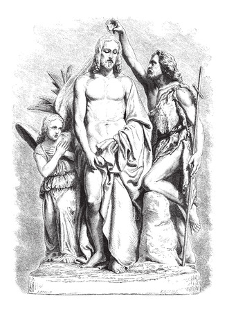 black jesus: Baptism of Jesus Christ, marble sculpture by Rude, drawing by Bocourt, vintage engraved illustration. Le Magasin Pittoresque - Larive and Fleury - 1867