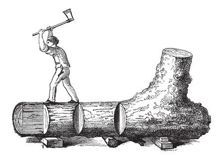 maderas: �C�mo un �rbol se convierte en tablas - le�ador cortando un tronco de �rbol en secciones rectangulares, vintage, ilustraci�n, grabado. Le Magasin Pittoresque - Larive y Fleury - 1874