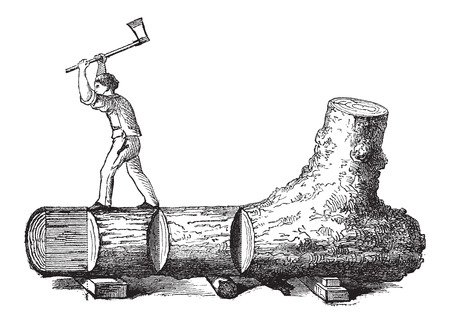 tree cutting: How a Tree is Made into Lumber - lumberjack cutting a tree trunk into rectangular sections, vintage engraved illustration. Le Magasin Pittoresque - Larive and Fleury - 1874