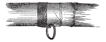 fishing pole: Fastening a Ring on a Rod onto a Fishing Pole using a Cord, half-made, vintage engraved illustration. Le Magasin Pittoresque - Larive and Fleury - 1874 Illustration