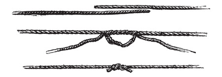 Fisherman's Knot, vintage engraved illustration. Le Magasin Pittoresque - Larive and Fleury - 1874