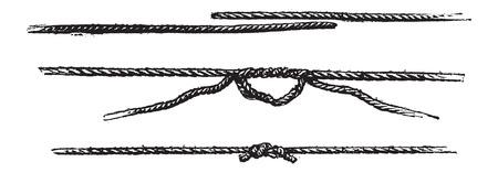overhand: Fishermans Knot, vintage engraved illustration. Le Magasin Pittoresque - Larive and Fleury - 1874 Illustration