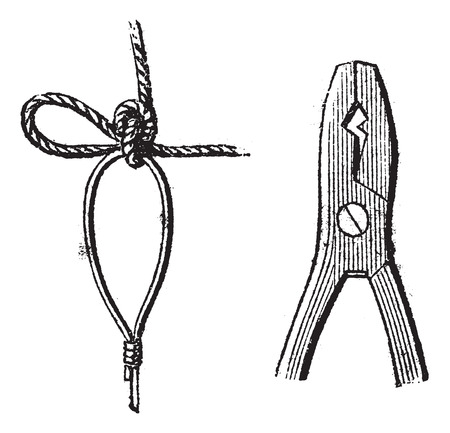 heavy: Fig. 17. Clove,  Fig. 18. Pliers for sealing, vintage engraved illustration. Magasin Pittoresque 1875. Illustration
