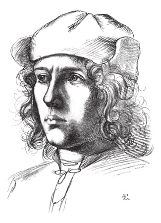 himself: Uffizi Gallery and Pitti, Florence, Portrait drawing by himself Garofolor, vintage engraved illustration. Magasin Pittoresque 1875.