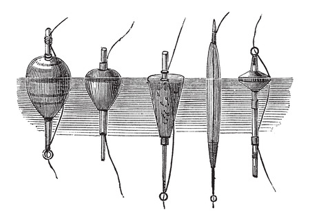 lure: Various Types of Floaters, used in Fly Fishing, vintage engraved illustration. Le Magasin Pittoresque - Larive and Fleury - 1874