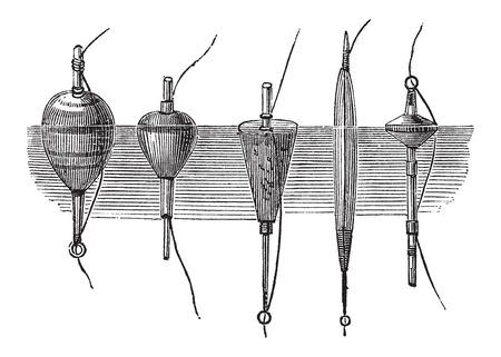 Verschillende soorten Drijvers, gebruikt in Fly Fishing, vintage gegraveerde illustratie. Le Magasin Pittoresque - Larive en Fleury - 1874