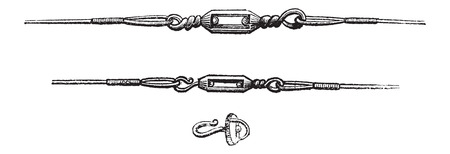 swivel: Various Types of Swivels, used in Fly Fishing, vintage engraved illustration. Le Magasin Pittoresque - Larive and Fleury - 1874 Illustration