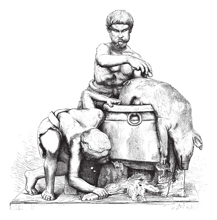 shirtless: Museum of Naples (SCUD). Two men who peel a dead boar, marble group. Height, 78 centemetres, vintage engraved illustration. Magasin Pittoresque 1875.