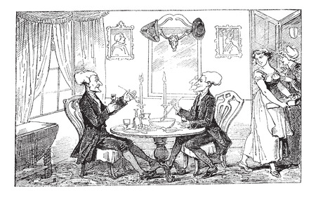 dr: Old engraved illustration of Dr Syntax and his counterpart enjoying their drinks and food while two women looking at them, 1874.  Created  by Thomas Rowlandson. Le Magasin Pittoresque - 1874.