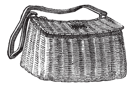 magasin pittoresque: Fishermans Basket, used in Fly Fishing, vintage engraved illustration. Le Magasin Pittoresque - Larive and Fleury - 1874