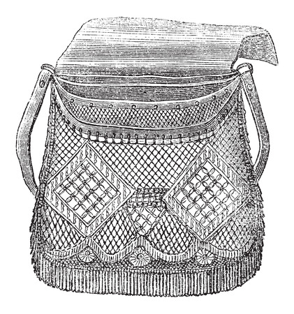 Fishermans Bag, used in Fly Fishing, vintage engraved illustration. Le Magasin Pittoresque - Larive and Fleury - 1874 Vector